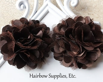 Silk Mesh Flowers Petite Puffs 2 inch Brown - Choose from 1-24 Flowers - Hairbow Supplies, Etc.