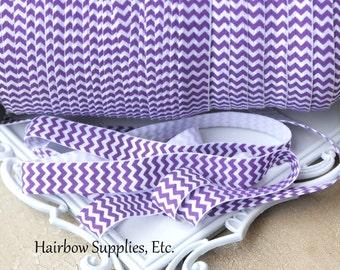 Purple Chevron Fold Over Elastic - Choose 1, 5, or 10 yards 5/8 inch FOE Baby Headbands Hair TiesFold Over ElasticHairbow Supplies, Etc.