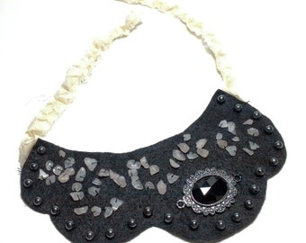 Black Felt Beaded Scalloped Bib Necklace with Braided Tie