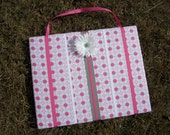SALE - Hair Bow Board Organizer: Pink, Gray and White Circle Dots with optional headband holder (16 x 20)