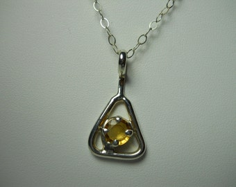 Citrine Gemstone Triangle Pendant