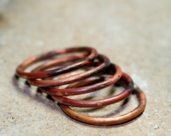 Stacking Rings Set of 5 Flame Painted Copper