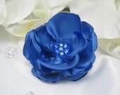 Dog Hair Bow - Blue Satin Flower