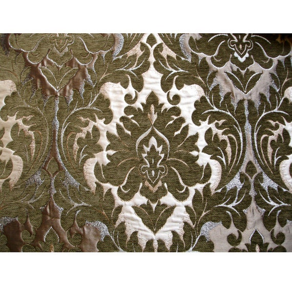 Olive Green Antique Gold Chenille Damask Upholstery Fabric