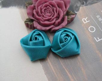 Satin Rose ,12PCS Satin fabric Rose Flowers, Handmade flowers 20x12mm Tornado Blue