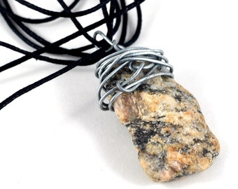 Stone Pendant Wire Wrapped Organic Necklace Jewellery on Waxed Cotton Triple Thread