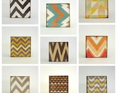 chevron wal art- set of 9- 5x5 art blocks- colorful wall art- modern geometric nursery decor-kids room decor