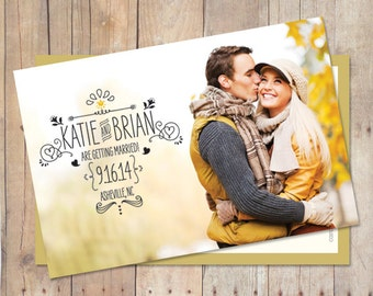 Save The Date Postcard, Save The Date Magnet, Save The Date Card, Custom Colors, Photo