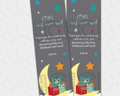 Owl Hold Your Spot Printable Bookmarks, Story Book themed Baby Shower Favors, Personalized DIY Digital File