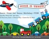 Transportation Birthday Invitation, Train, Plane, Automobiles, Cars, Firetruck, Airplane, Printable DIY Digital File