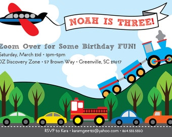 Transportation Birthday Invitation, Train, Plane, Automobiles, Cars, Firetruck, Airplane, Printable DIY Digital File