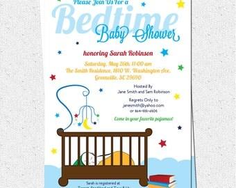 Bedtime Stories Baby Shower Invitation, Printable, Story Book Theme, Crib, Night, Stars, Boy or Girl Gender Neutral, Modern DIY Digital File
