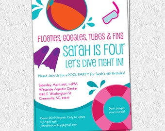 Printable Pool Party Birthday Invitation, Summer, Swim, Dive, Child Girl, Pink, Purple, Teal, l DIY Digital File