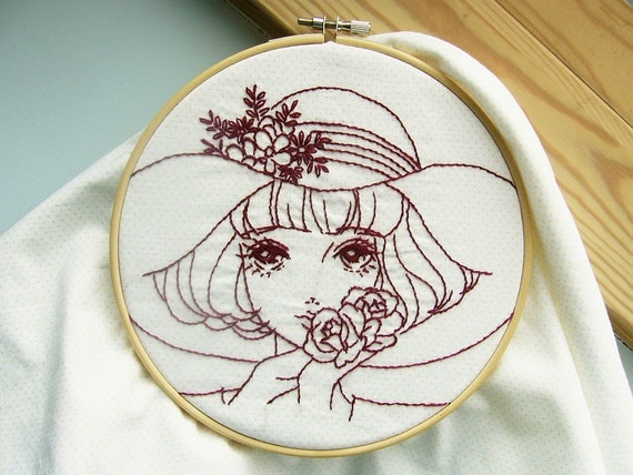 Girl PDF Embroidery Pattern/ Redwork / / Vintage Lady / Hand