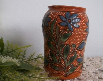 Vintage antique TLAQUEPAQUE red clay Mexican pottery small hand painted pot vase