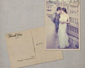 """Wedding Thank You Cards / Thank You Note Cards / Vintage cards / thank you card / Vintage Wedding Thank You Postcard - the """"Anastasia"""""""