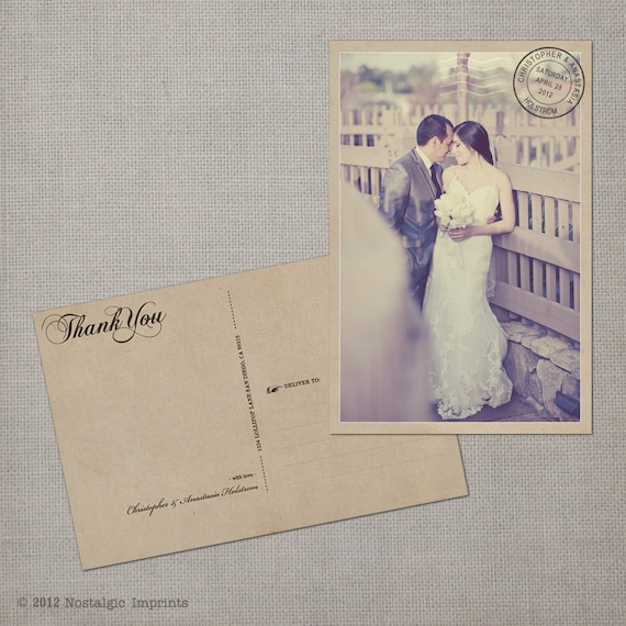 "Wedding Thank You Cards / Thank You Note Cards / Vintage cards / thank you card / Vintage Wedding Thank You Postcard - the ""Anastasia"""