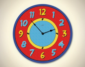 CHRISTY - 14in  Children Wall Clock in Blue, Yellow & Red. Custom Clock. Educational Toy. School Decor. Gift for Kids. Nursery Decor