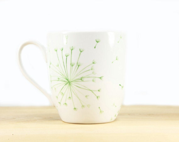 Hand Painted Ceramic Coffee Mug Tea Cup Green Dandelion Botanical Design Minimalist White  Modern Kitchen Decor Decorative Art