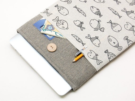 MacBook Pro 13 case | SPECIAL OFFER - 50% OFF | High quality handmade Linen MacBook 13 sleeve MacBook Pro case, bag. Fishpocket print cover.
