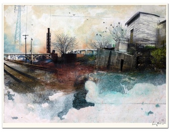 """In a Fog - Cityscape Art Lithograph - 16 x 20"""" - Signed by the artist"""