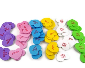 Conversation Hearts Valentine Kit (makes 30 cards) Candy Hearts DIY Kids Children School Purple Pink Blue Yellow White Green