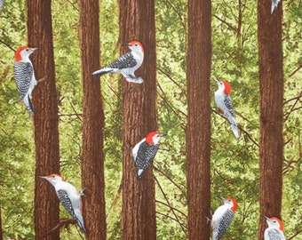 Woodpeckers in the Forest Print Pure Cotton Fabric from Timeless Treasures-One  Yard