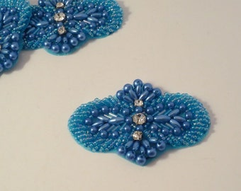 Petite Turquoise Beaded Applique with Stones-One Piece