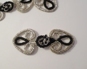 Metallic Silver with Black Beads Frog Closure--One Piece