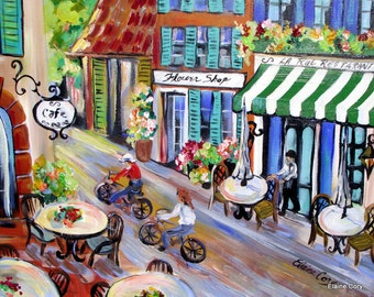 Cafe Original Lanscape Painting wall art canvas painting gift for her home decor flower shop painting 18 x 24  Art by Elaine Cory
