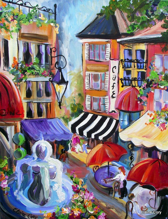 Oh Italy City Scene Painting 16 x 20  Fine Art by Elaine Cory