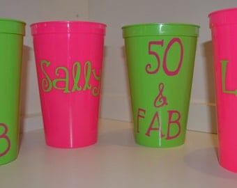 Personalized Cups, Plastic Tumblers, 50th Birthday, 50, 40, 30s Birthday, Gifts, Set of 4