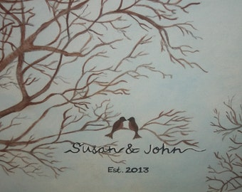 Love birds sitting in a tree and painted with scripture verse