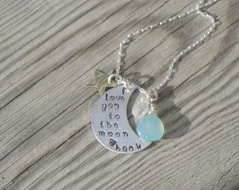 I Love You to the Moon and Back with Aqua Blue Chalcedony & Moonstone - Gifts for Her - Gifts for Mom - Mother's Day