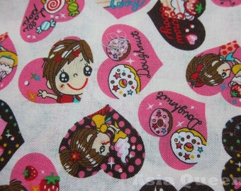 """USD7 - Sweet girls - 1 yard - cotton linen - clearance, Check out with code """"5YEAR"""" to save 20% off"""