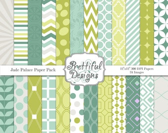 Digital Paper Pack  - Personal and Commercial Use - Jade Palace