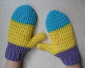 Bright 3 Tone Mittens - Blue Yellow Purple - Ready to Ship - Hand Wrist Warmers Gloves