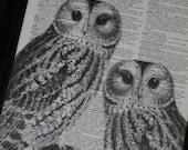 BOGO Sale Owl Couple II Dictionary Art Print Wall Art Print Upcycled HHP Original Design and Concept