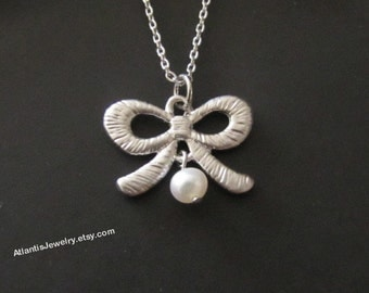 Ribbon Necklace Pearl Necklace Pendant Necklace Charm Necklace Jewelry Gift