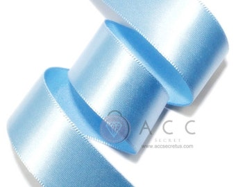 Sky Blue Single Faced Satin Ribbon - 5mm(2/8''), 10mm(3/8''), 15mm(5/8''), 25mm(1''), 40mm(1 1/2''), and 50mm(2'')