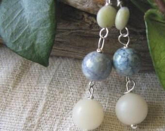 ivory & blue stone dangles