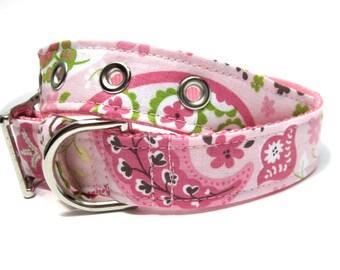 Pink Dog Collar- Pink and Brown Summer Paisley