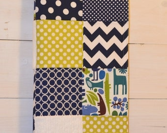Large Patchwork Baby Blanket / Quilt - Michael Miller Fabrics 2D Zoo, Blue, Green and White, Chenille and Flannel