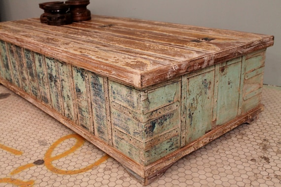 Antique indian trunk coffee table chippy blue green chest Indian trunk coffee table