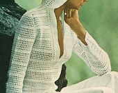 70s INSTANT  PDF PATTERN Vintage Filet Mesh Lace Crochet Hooded Summer Pullover Top Sweater Plunging Neckline Beach Bathing Suit Coverup
