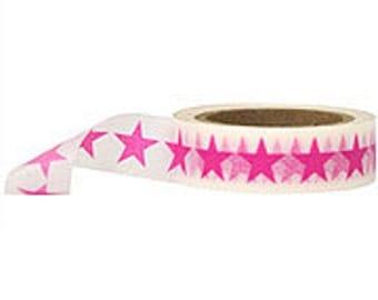 Washi Tape- White w/ Pink Stars