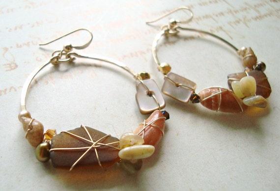 Gold Beach Hoop Earrings, Wire Wrapped Gold Filled Hoop Earrings With Neutral Brown Beach Treasures:  RESERVED