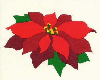 Vintage 80's Mrs. Grossman's Christmas Poinsettia Sticker