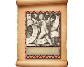 Victorian Cherub Bookplates, Cerubs - INSTANT DOWNLOAD