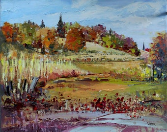 "Autumn scenery  -  Canadian landscape - Original oil painting on canvas - Home decor  10"" X 12"""